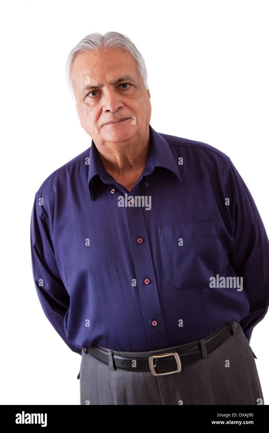 Ritratto di un grave anziani East Indian uomo Immagini Stock