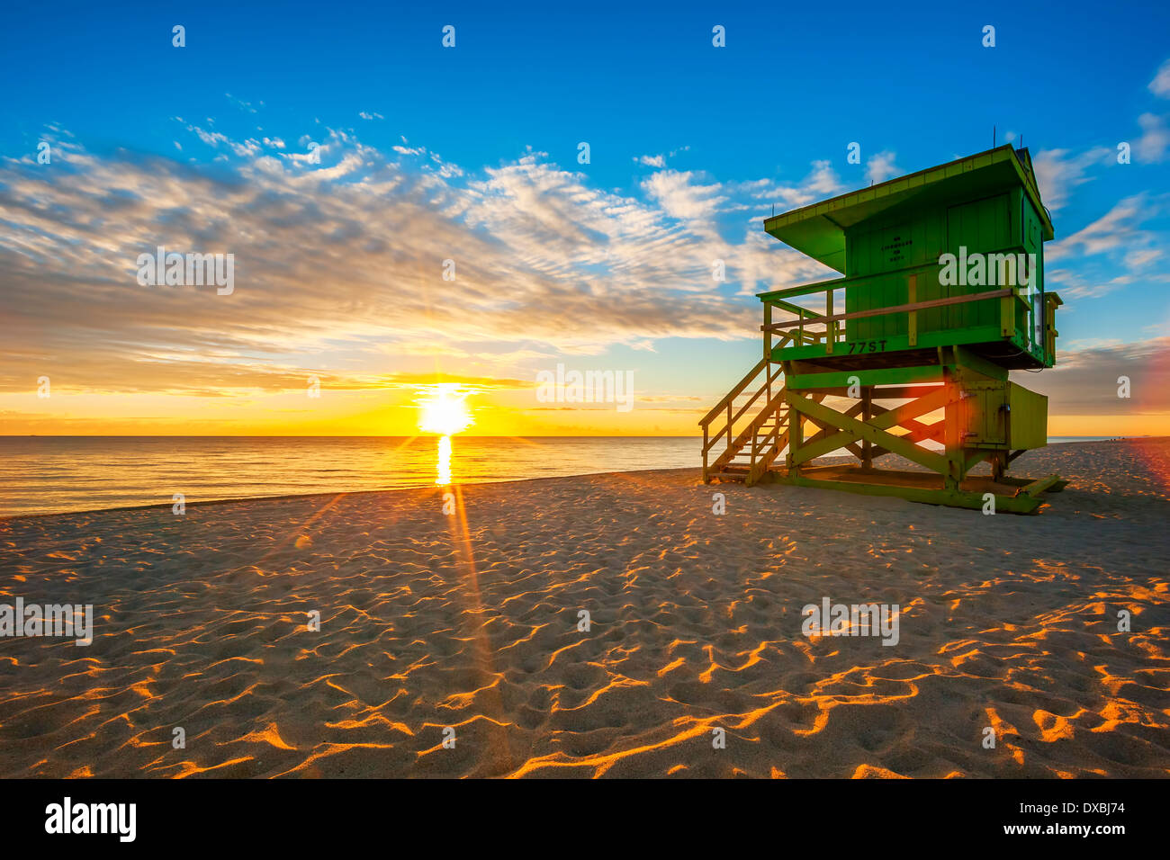 Famosa Miami South Beach Sunrise con bagnino tower Immagini Stock