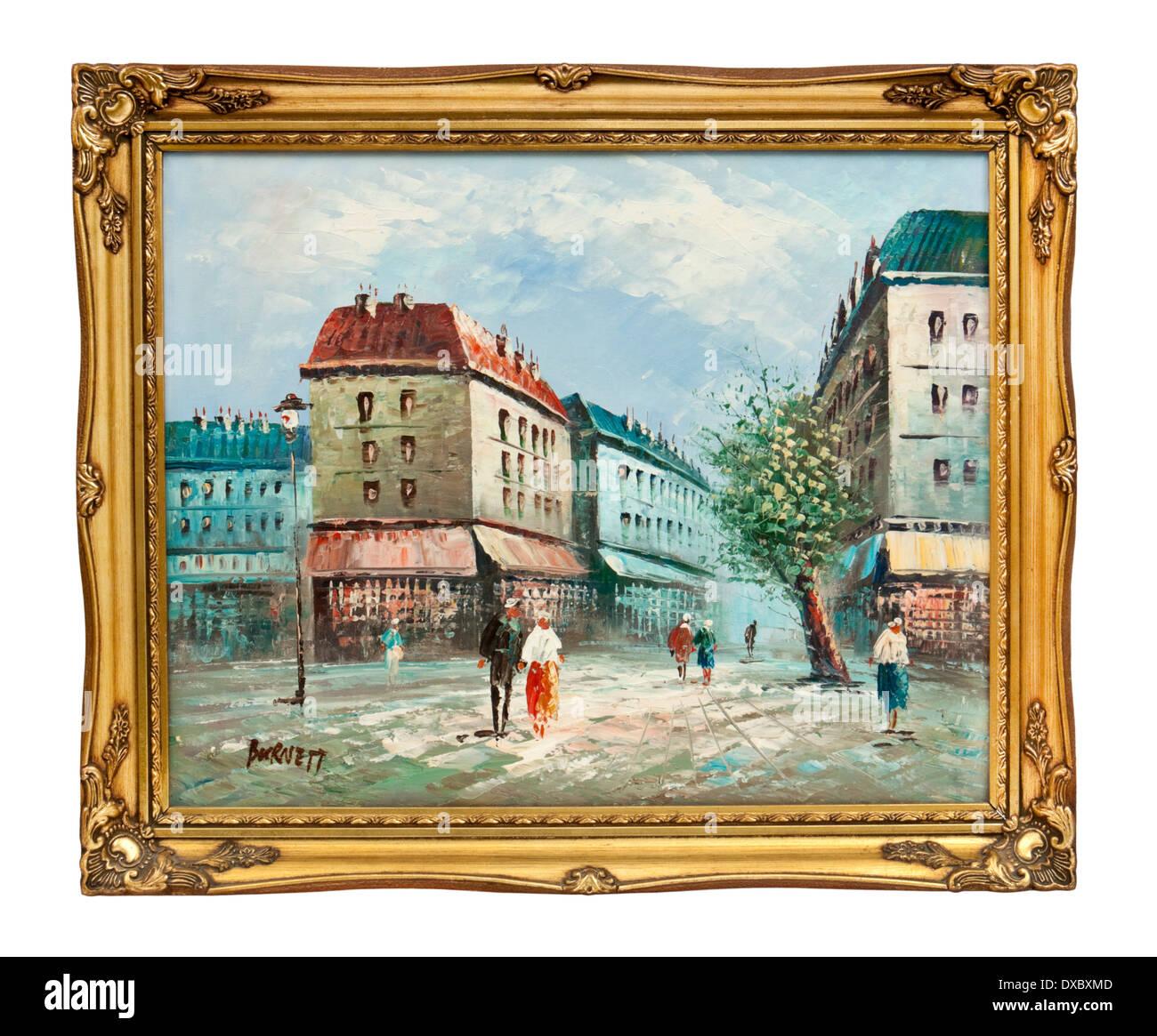 """Cornice originale olio su tela di una Parigi street scene, firmato """"Burnett'. Immagini Stock"""