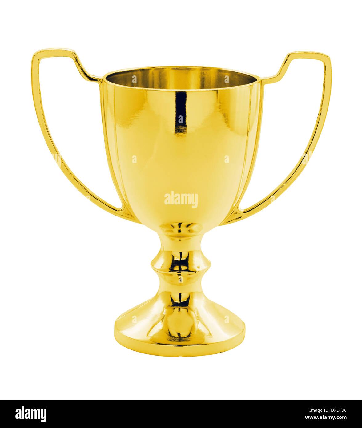 Un oro vincitori del trofeo contro uno sfondo bianco grande concetto per la realizzazione, il successo o il vincitore di una competizione o di aggiudicazione. Immagini Stock