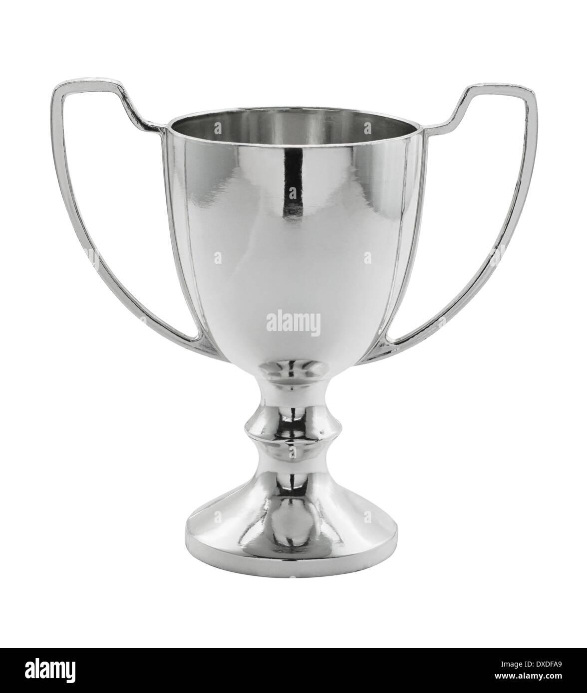 Argento trofeo vincente isolato grande concetto per la realizzazione, il successo o il primo posto in una competizione. Immagini Stock