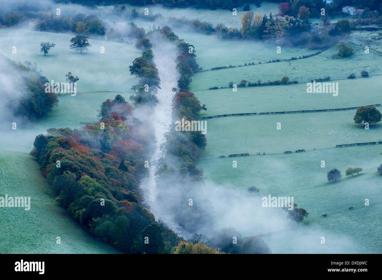 I colori autunnali e la nebbia nella Dee Valley (Dyffryn Dyfrdwy) nelle vicinanze del Llangollen, Denbighshire, Galles Immagini Stock
