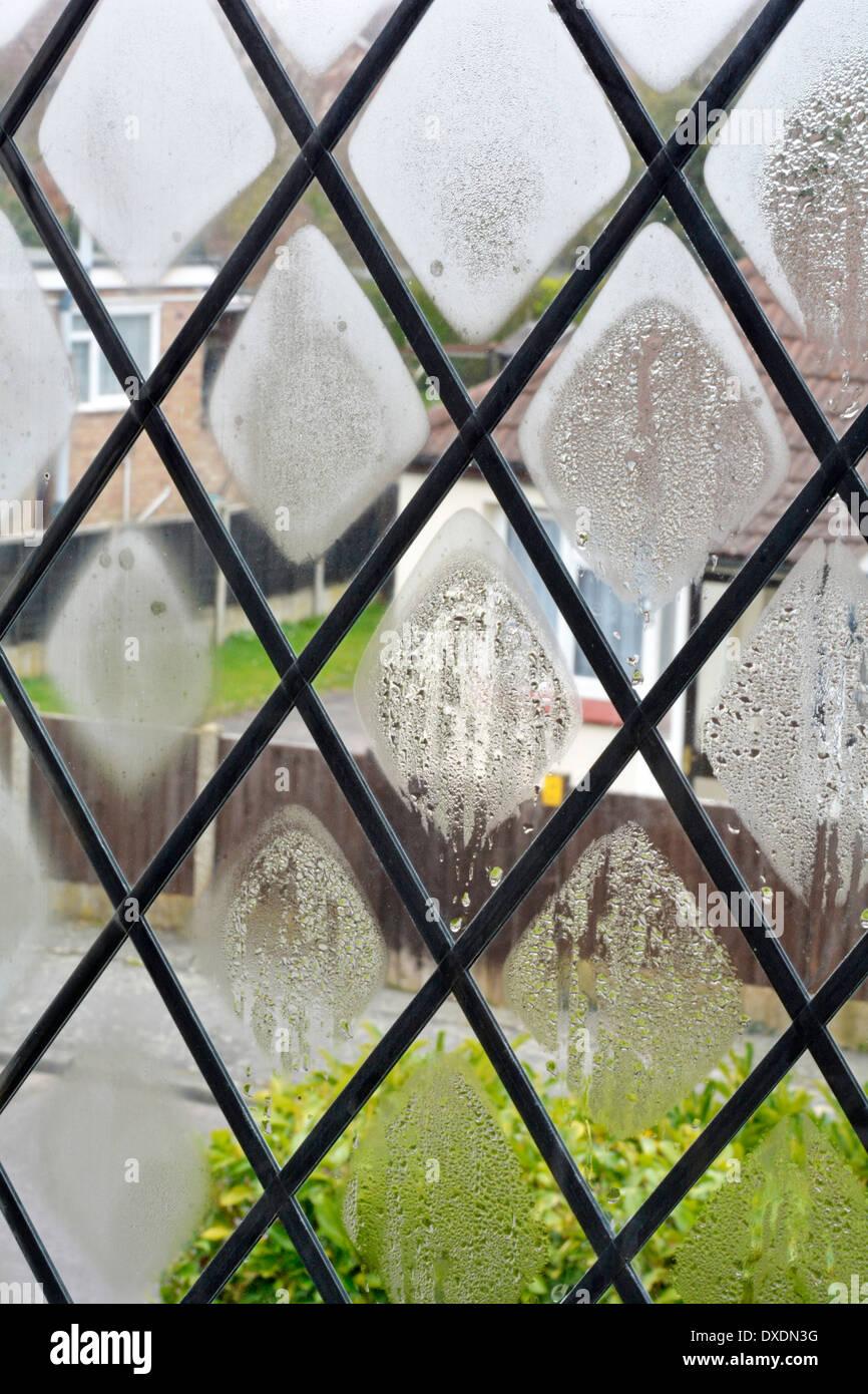 Difettoso finestre a doppi vetri con unità di guarnizione rotta consentendo alla condensa di formare nella cavità Essex England Regno Unito Immagini Stock