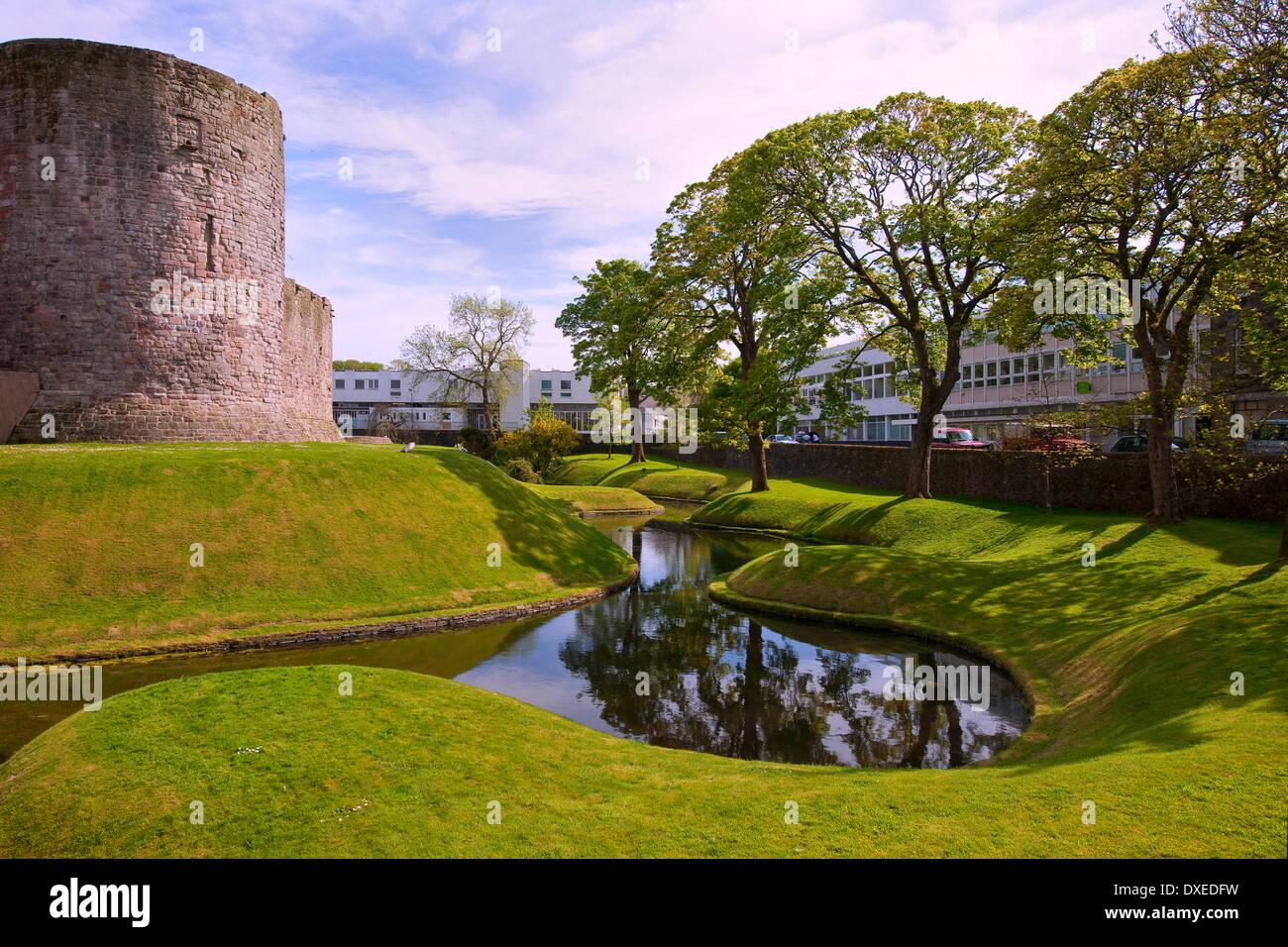 Risalente al XVI secolo e il castello di circolare e il fossato in Rothesay,isola-di-Bute.Argyll Immagini Stock