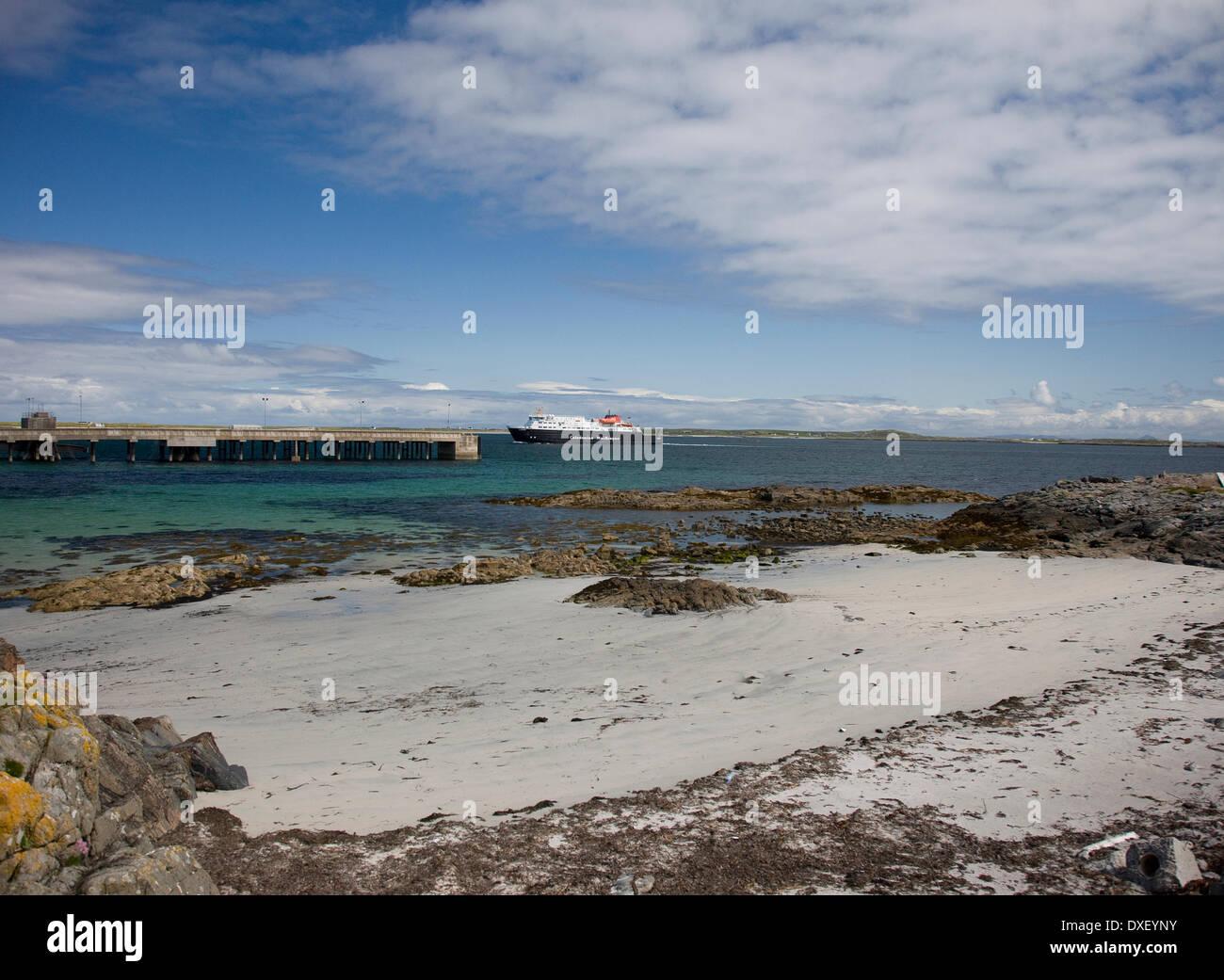 Il M.V.Clansman a Gott bay, Isle of Tiree. Immagini Stock