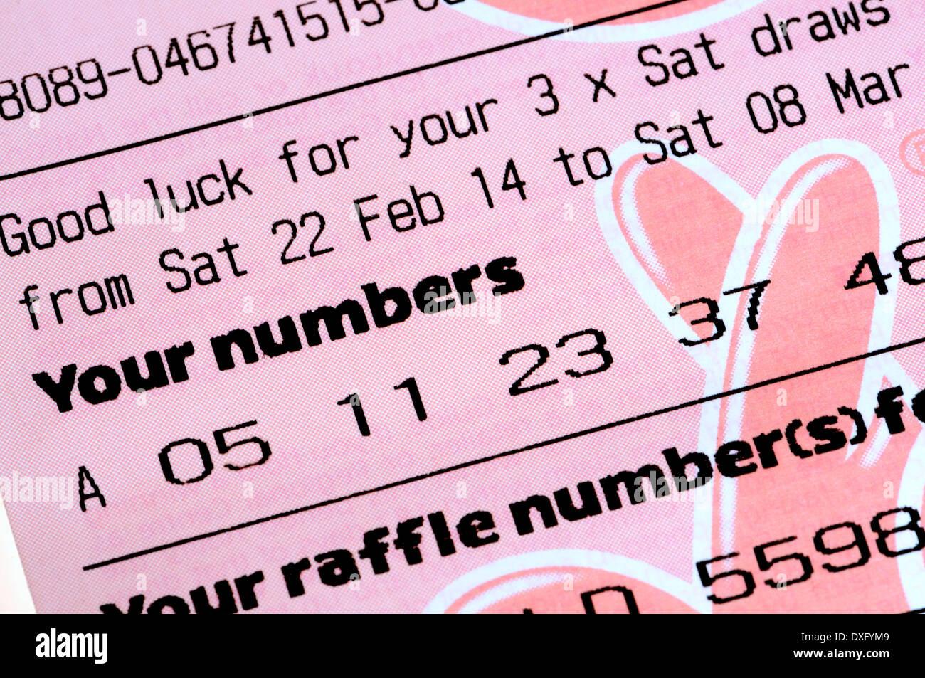 British Lotto lotteria nazionale biglietto Immagini Stock