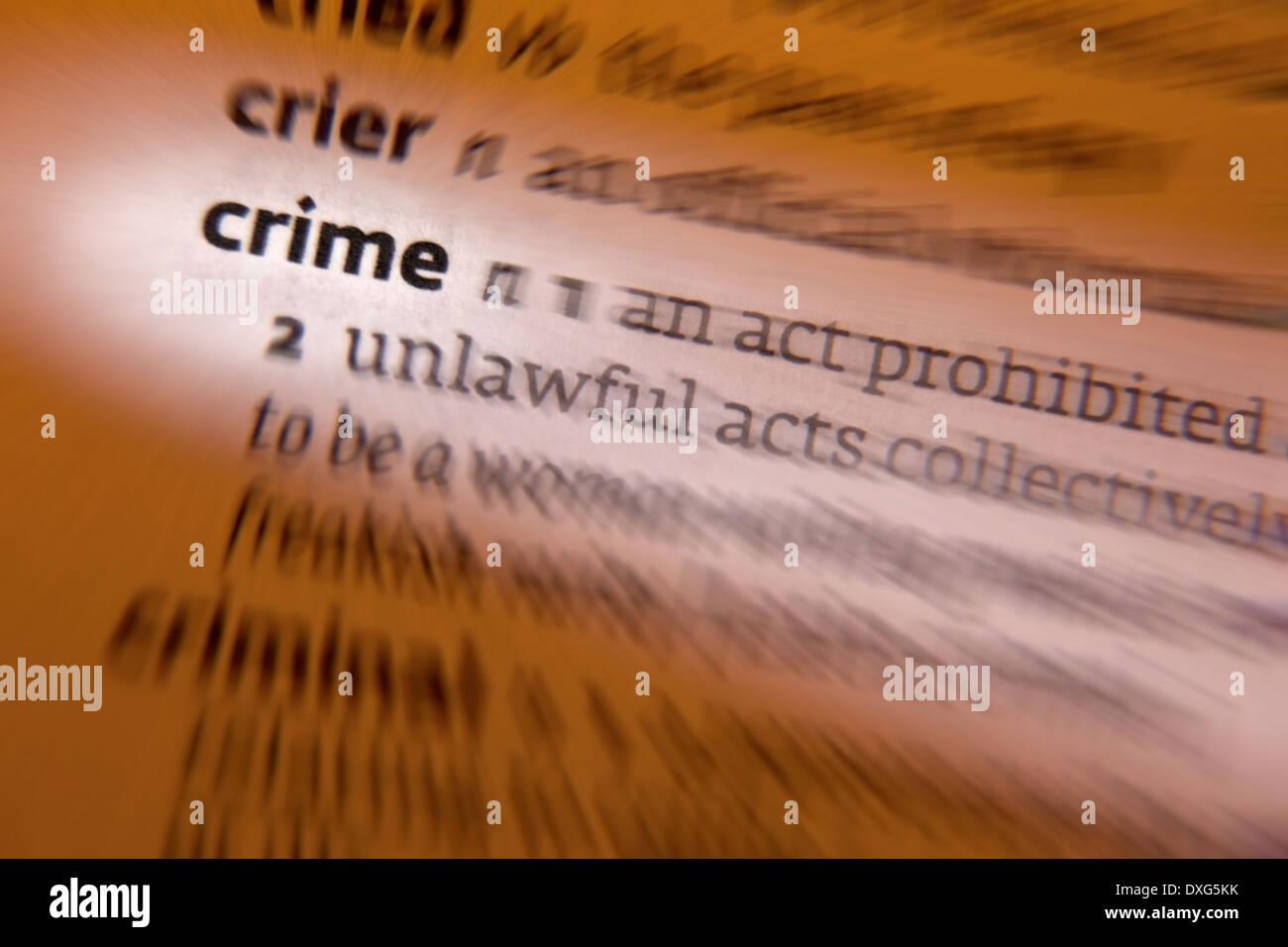 La criminalità - un'azione o omissione che costituisce un reato che può essere perseguito dallo stato ed è punibile dalla legge. Immagini Stock