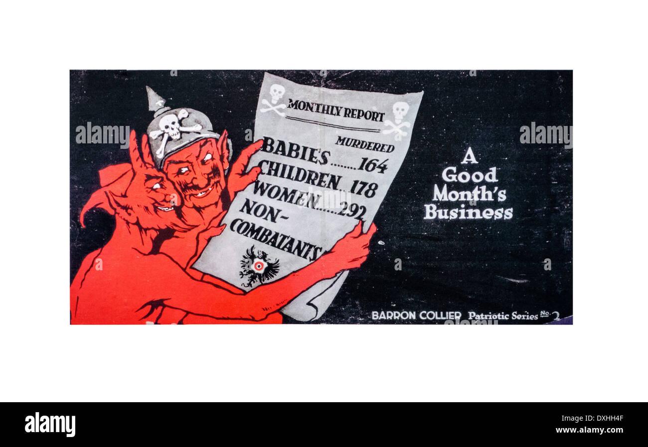 Ww1 inglese cartone animato che mostra il diavolo e il soldato