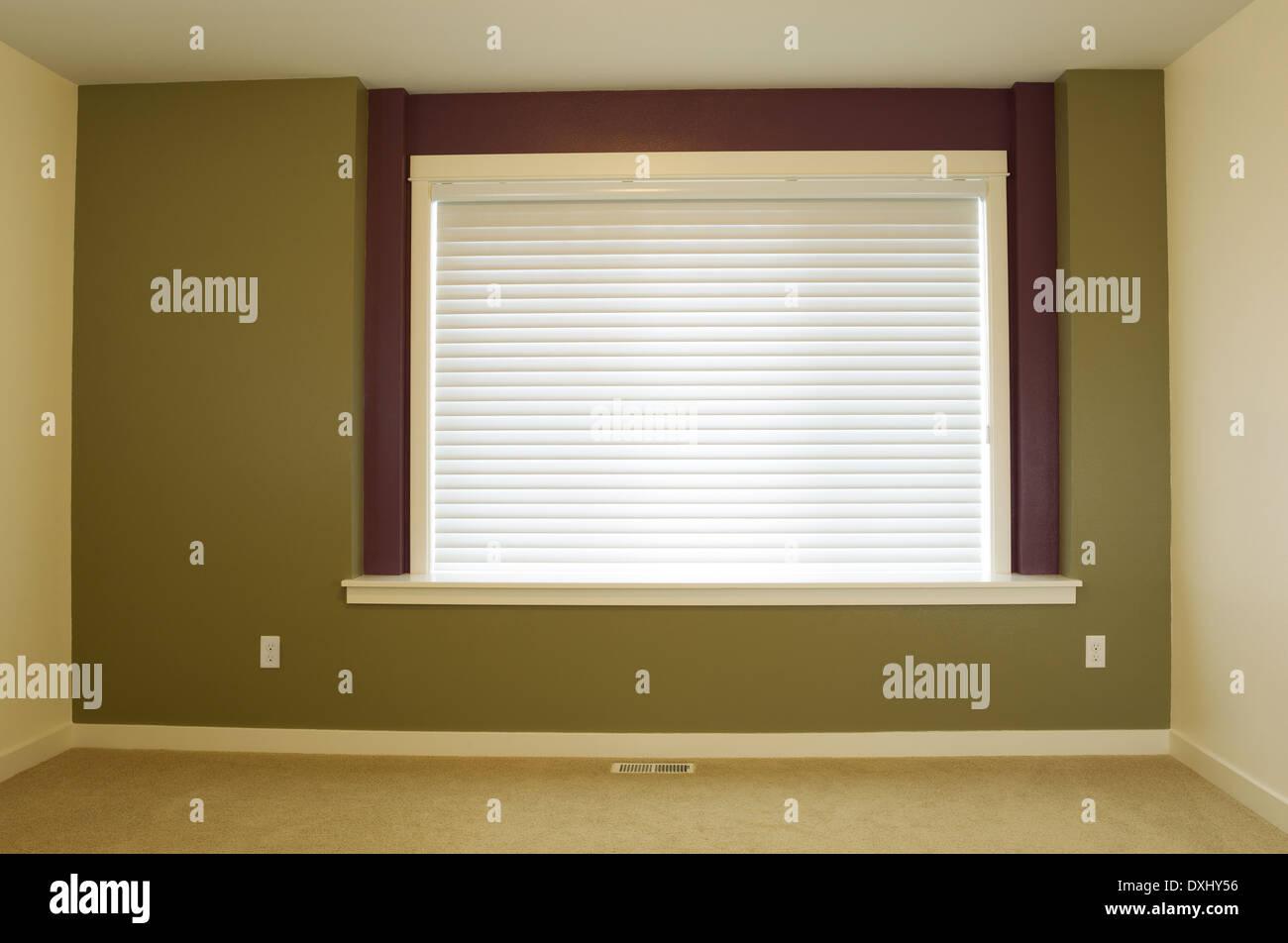 Foto orizzontale di interni casa residenziale accent parete dipinte di verde con ampia finestra e di ombra in background Immagini Stock