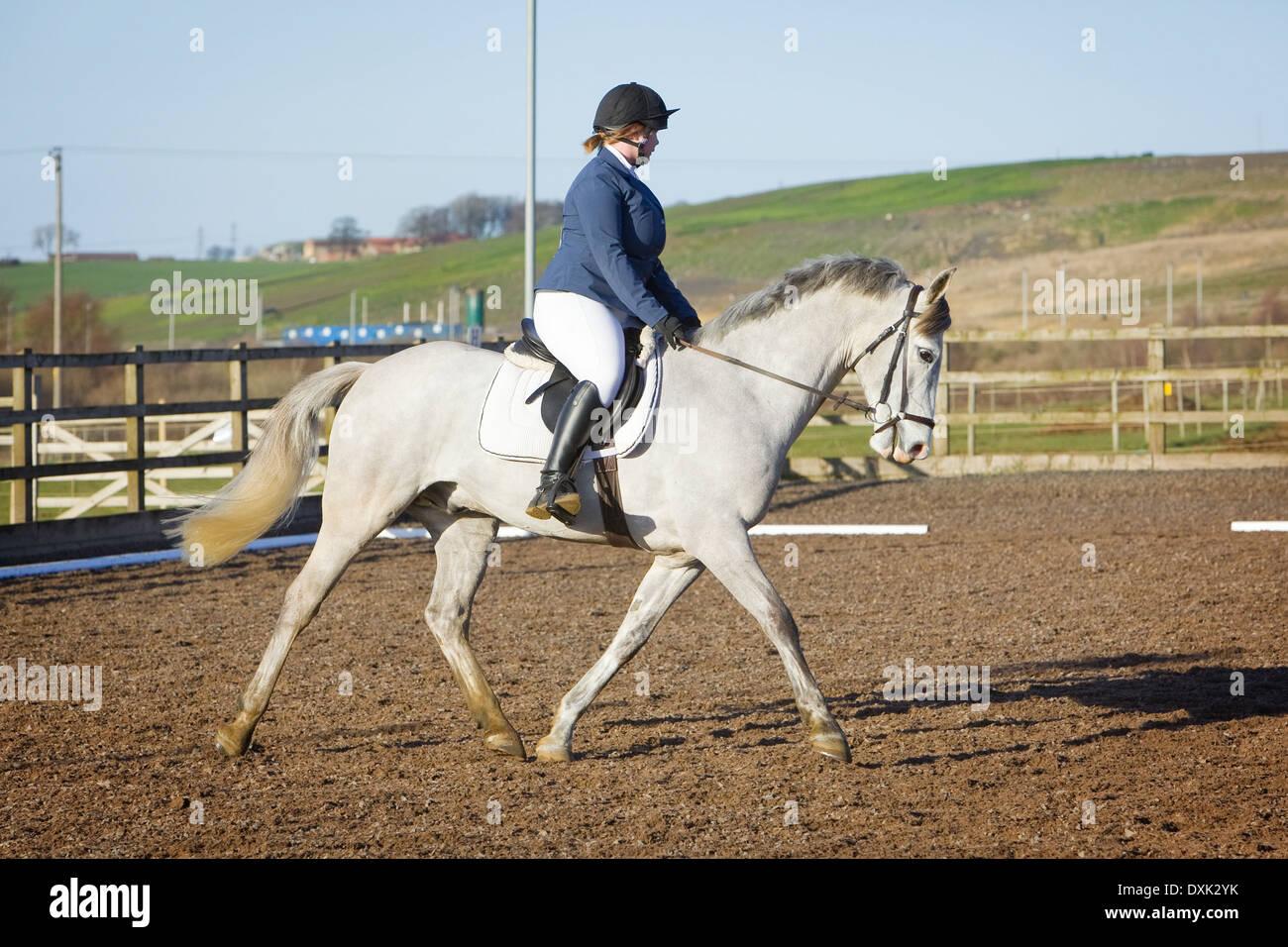 Un cavallo e cavaliere competere in un evento di dressage detenute al di fuori su di una spiaggia di sabbia e gomma in corso Inghilterra Immagini Stock