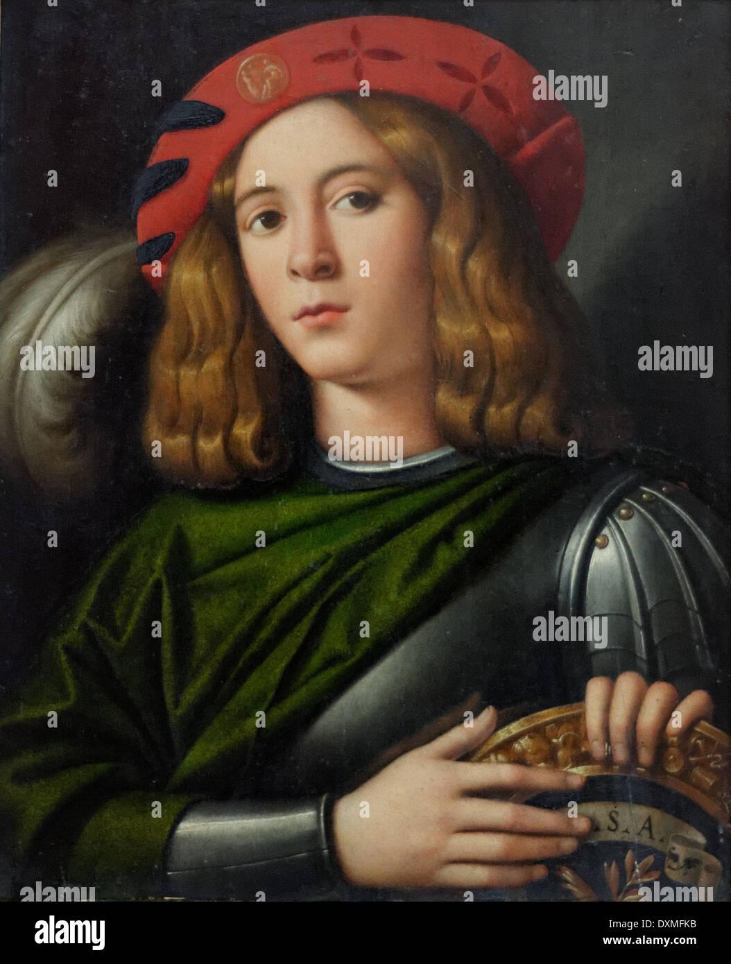 Domenico di Bernardino Capriolo - Ritratto di un giovane uomo in armatura- 1520 - XVI secolo - Scuola di Italiano - Gemäldegalerie - Essere Immagini Stock