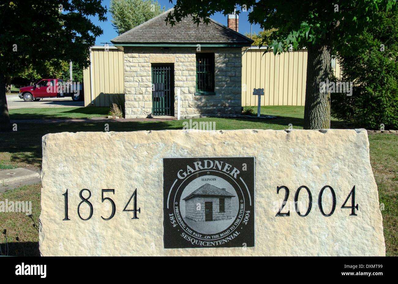 Il carcere Two-Cell, costruito nel 1906, è una popolare attrazione di Gardner, Illinois, una città lungo la Route 66. Immagini Stock