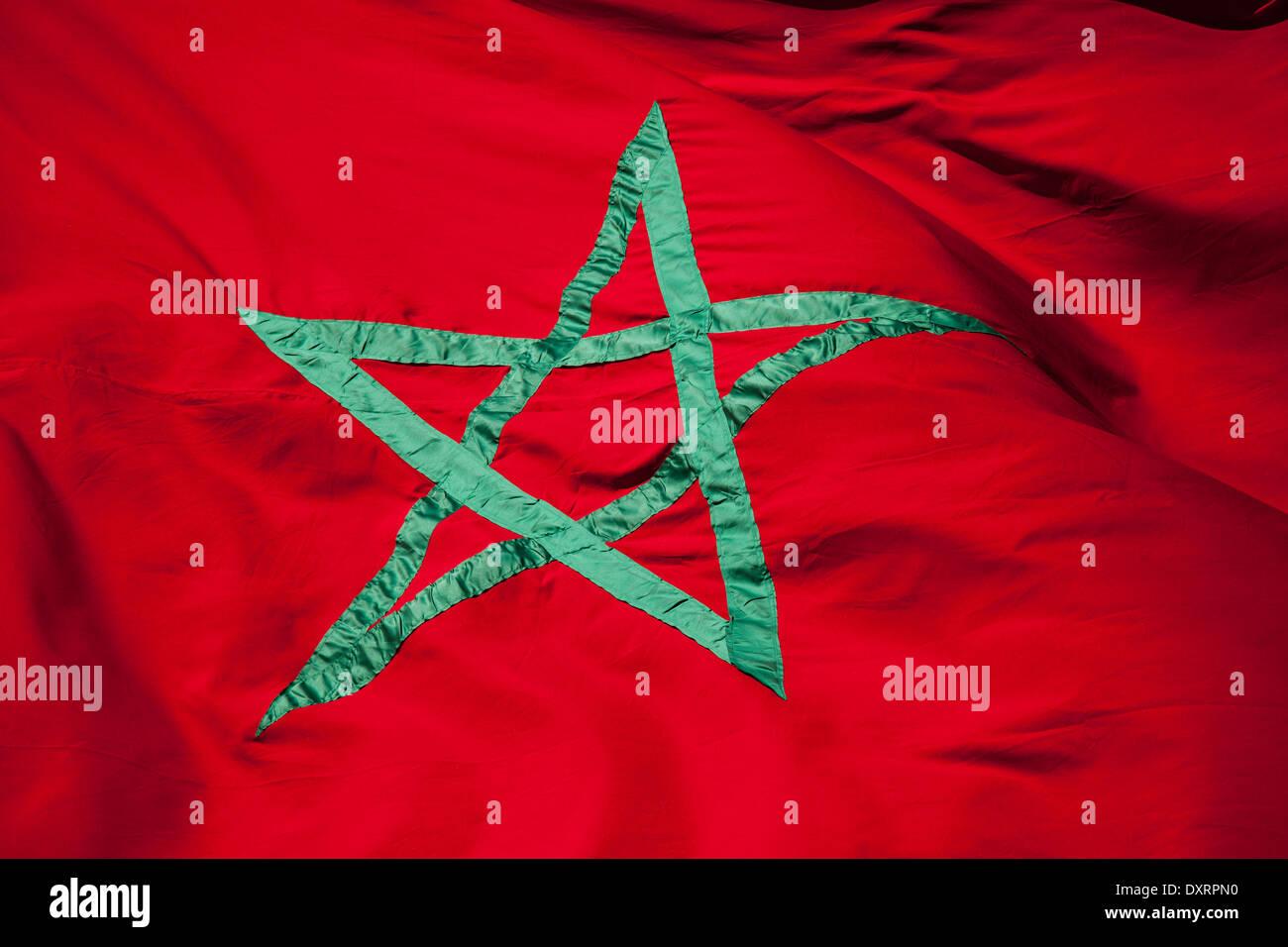Bandiera Nazionale Del Marocco Stella Verde Su Sfondo Rosso Foto