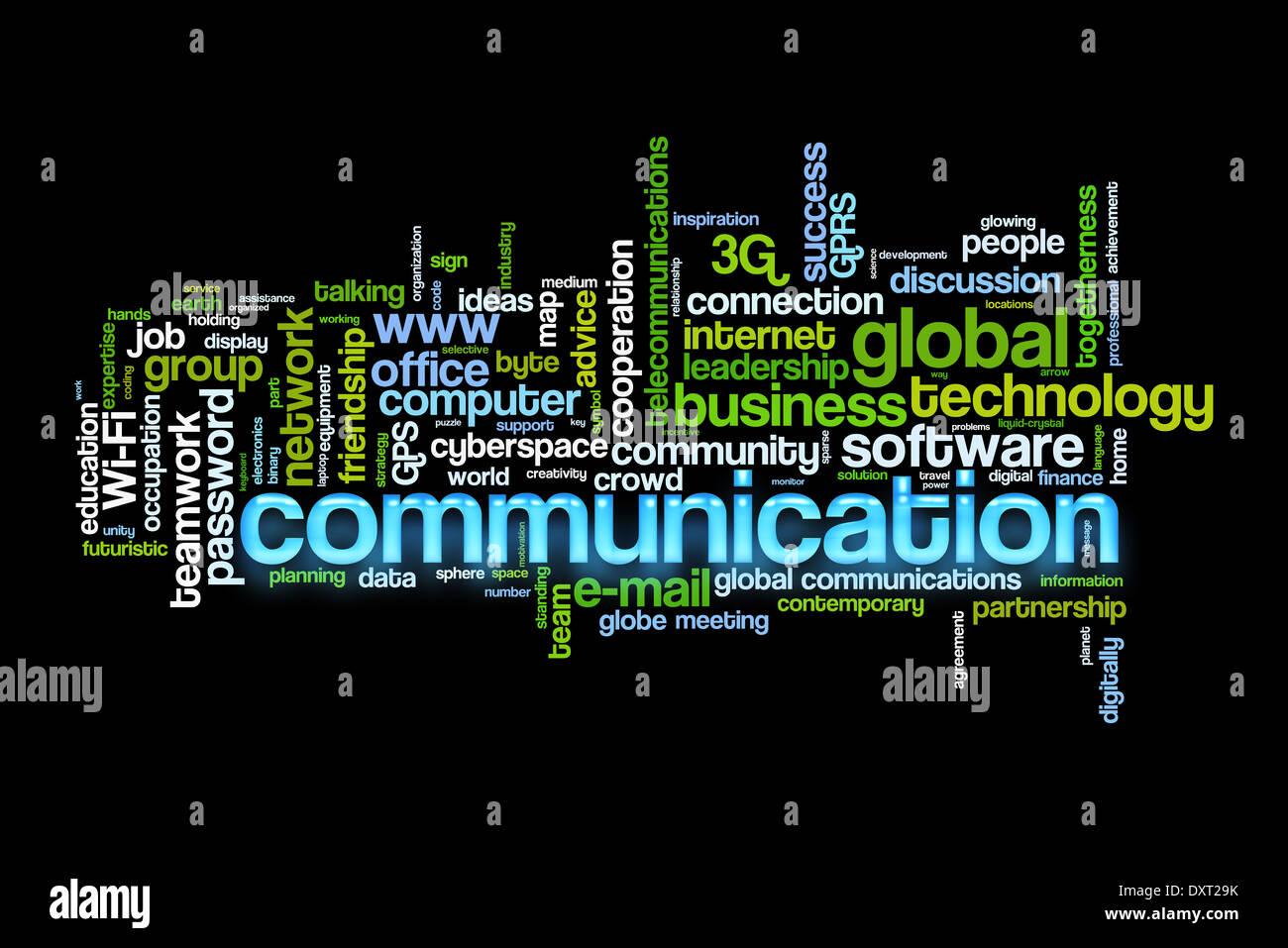 Concetto di comunicazione parola immagine cloud Foto Stock