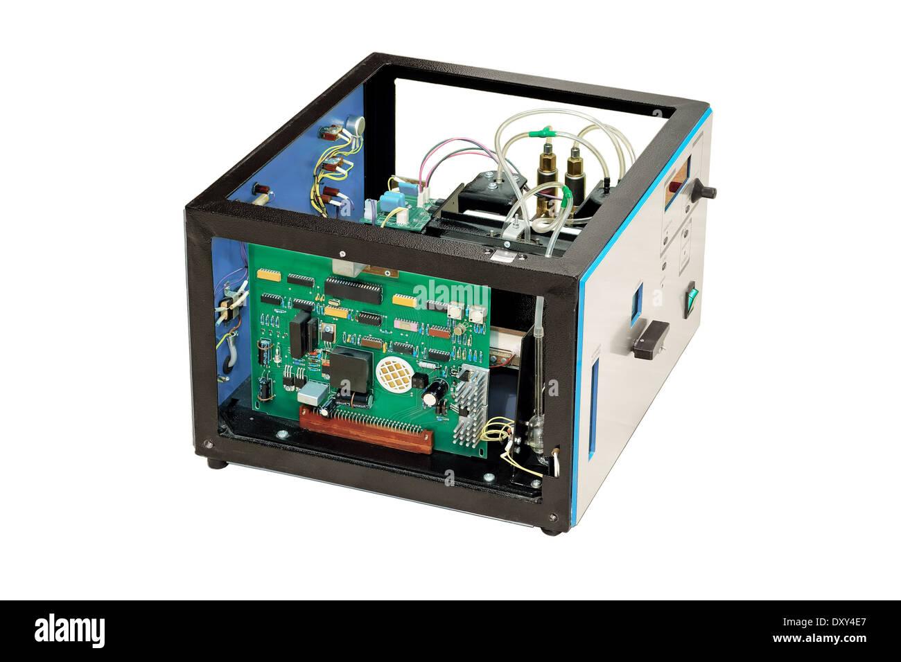 Apparato elettrodomestico, bordo, circuiteria, complessità, collegamento, controllo, dispositivo, disassemblare, disassemblato, elettrico, elettronico Immagini Stock