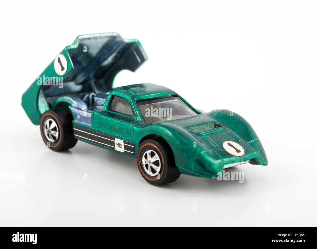 Green Ford J-auto Hot Wheels die-cast automobili giocattolo da Mattel 1968 con verniciatura Spectraflame Immagini Stock