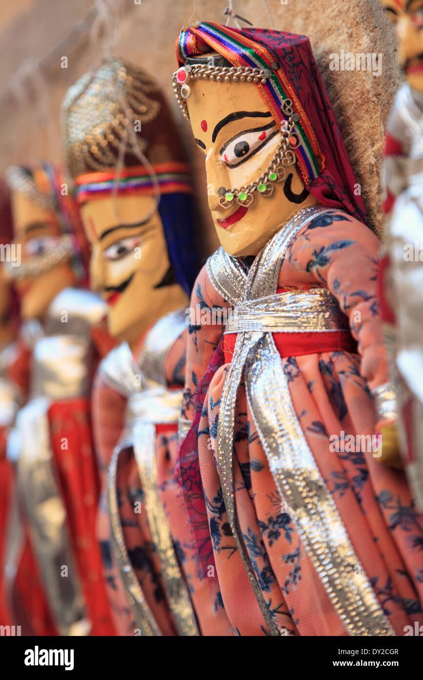 India Rajasthan, Jaisalmer, Jaisalmer Fort, tradizionali burattini di Rajasthani Immagini Stock