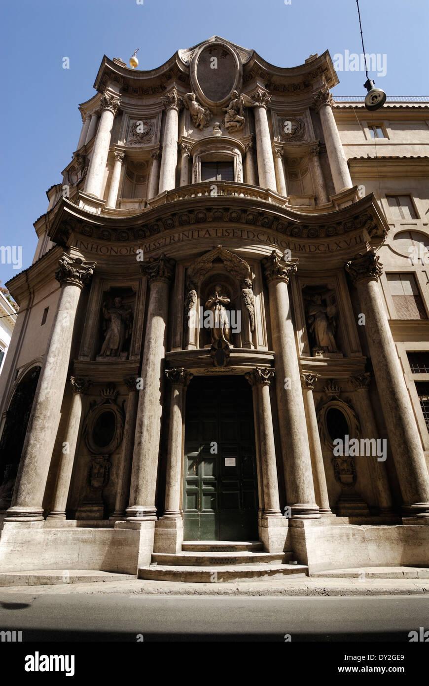 Di San Carlo alle Quattro Fontane chiesa progettata da Francesco Borromini, Roma, Italia. Foto Stock