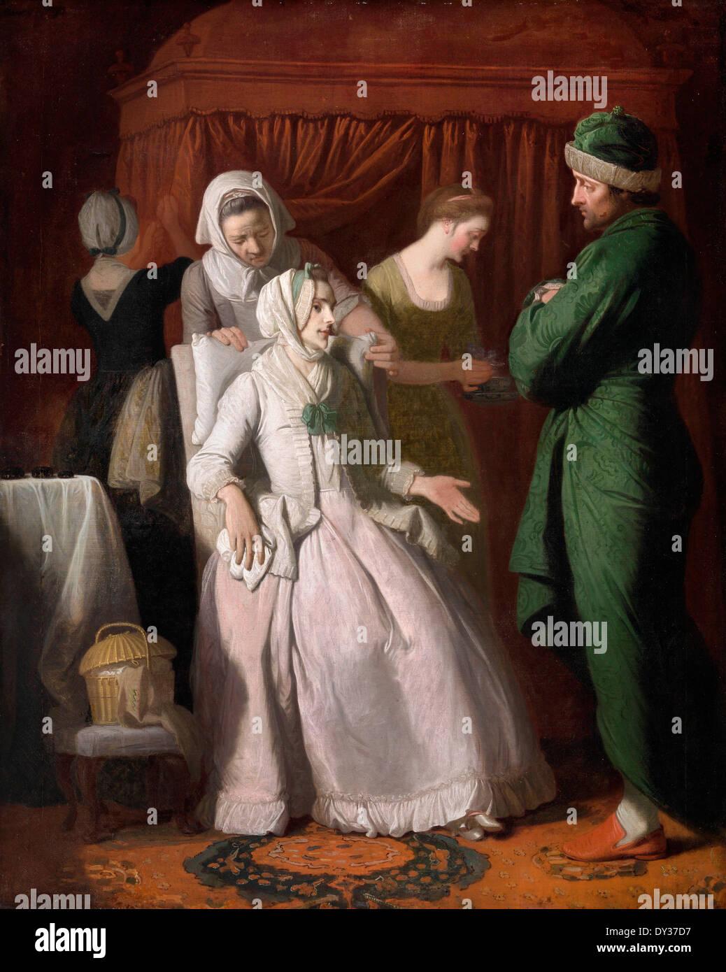 Edward Penny, la virtuosa confortati dalla simpatia 1774 olio su tela. Yale Center per British Art di New Haven, Stati Uniti d'America. Immagini Stock