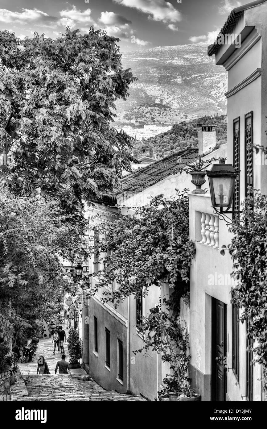 I pittoreschi edifici di Plaka a Atene, Grecia Immagini Stock
