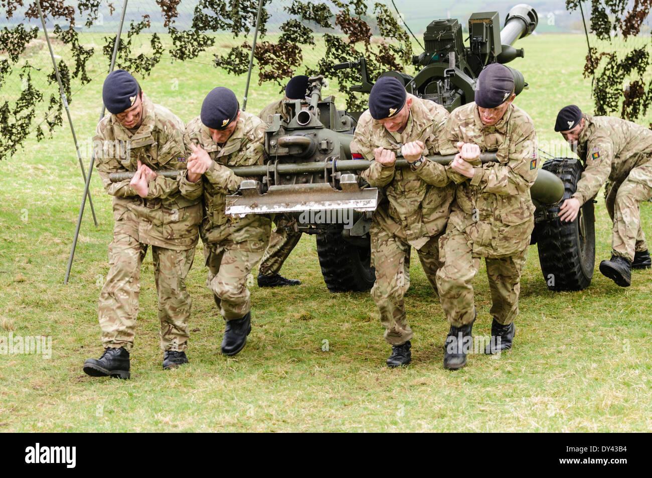 I soldati della Royal Artillery ceppo per tirare un 105mm luce pistola di  Artiglieria Immagini Stock 33931f73f0c0