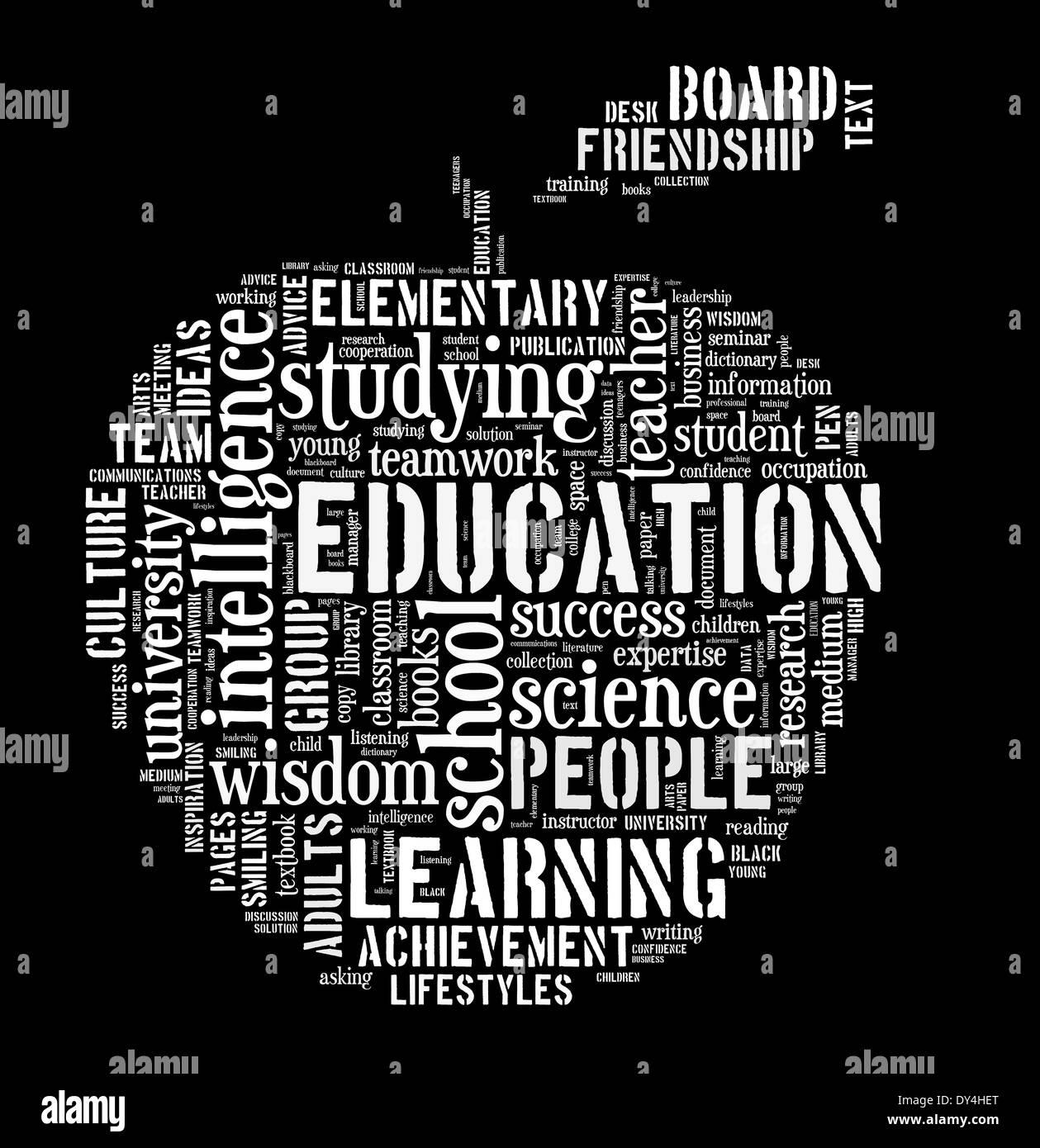 Parola di istruzione cloud forma a mela concetto di immagine Immagini Stock