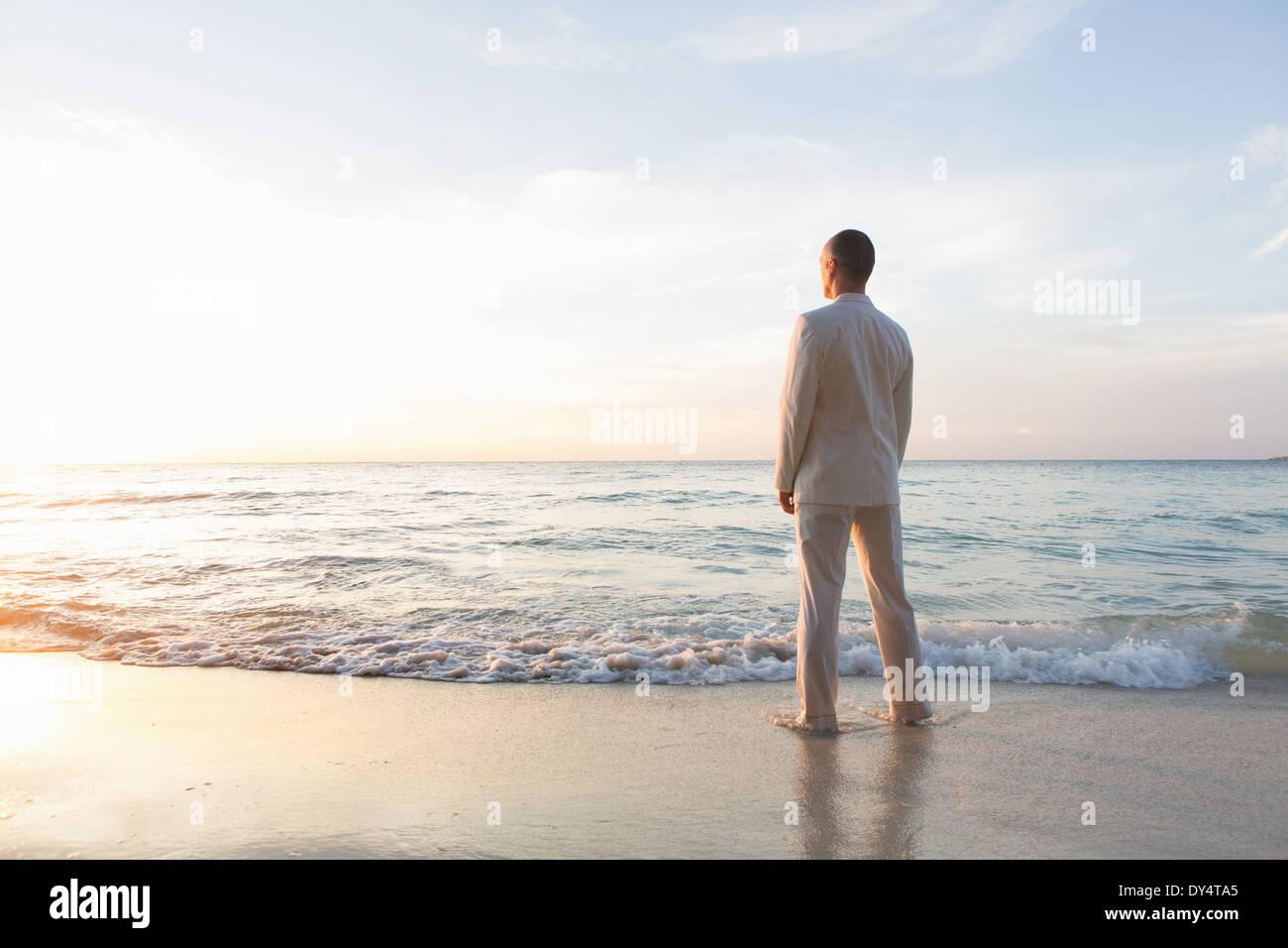 Commercianti in piedi in mare, vista posteriore Immagini Stock