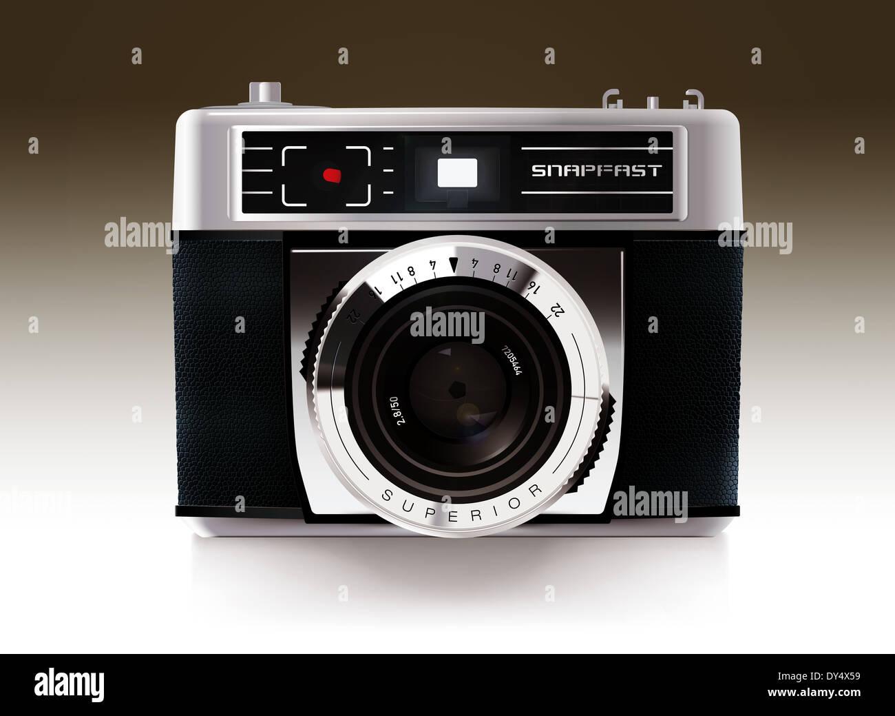 Illustrazione dettagliata del mirino compatta fotocamera da anni sessanta Immagini Stock