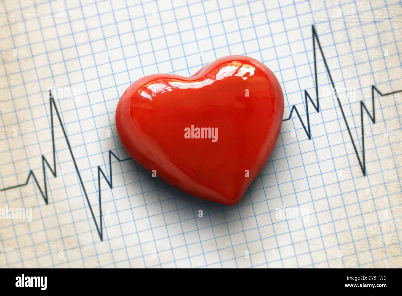 Cardiogram e cuore Immagini Stock