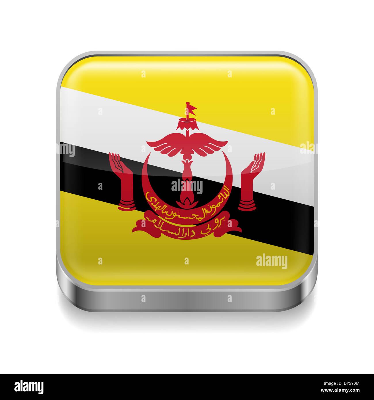 Metallo icona quadrata con colori di bandiera del Brunei Immagini Stock