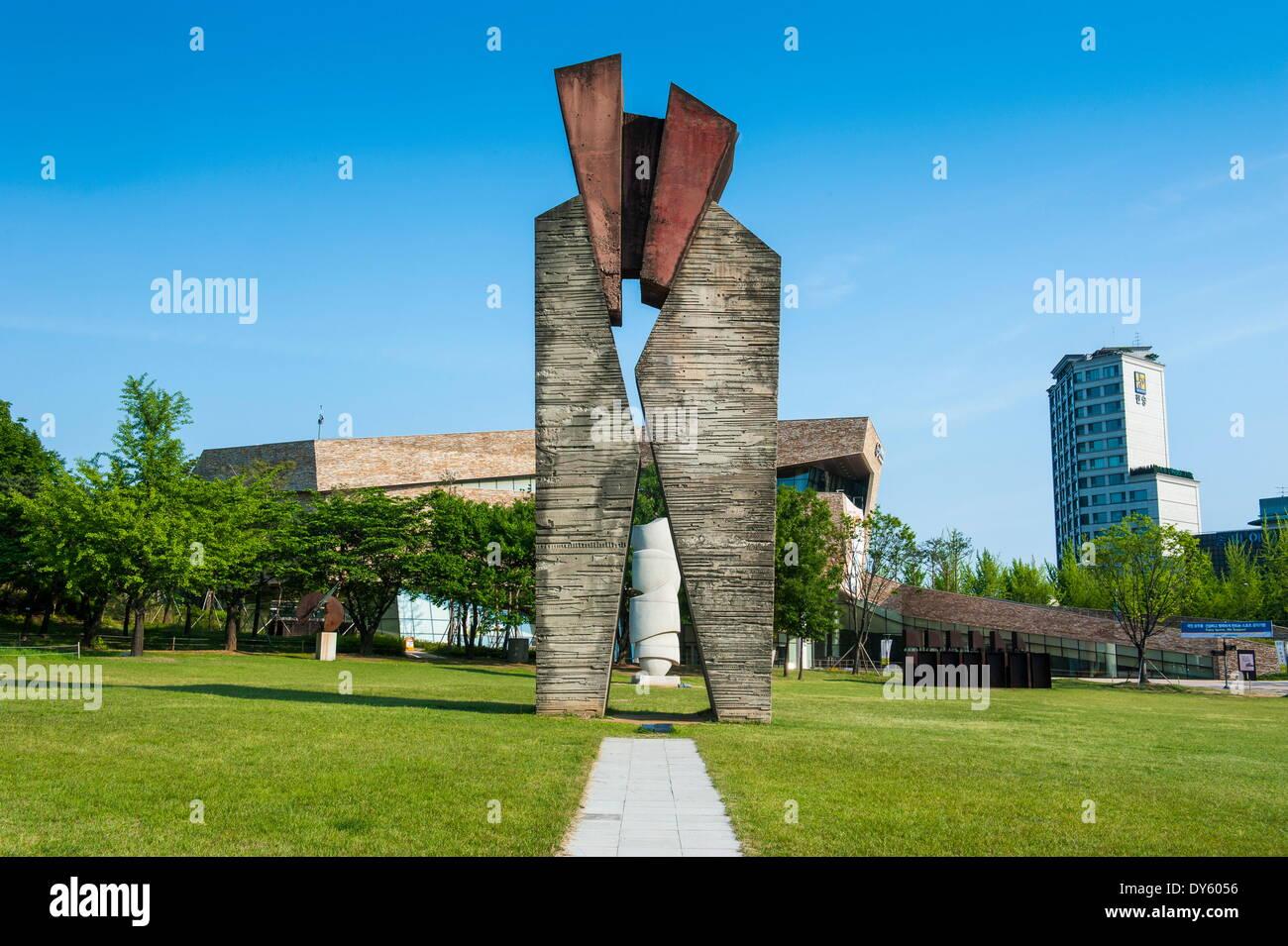 Arte moderna nel Parco Olimpico, Seoul, Corea del Sud, Asia Immagini Stock