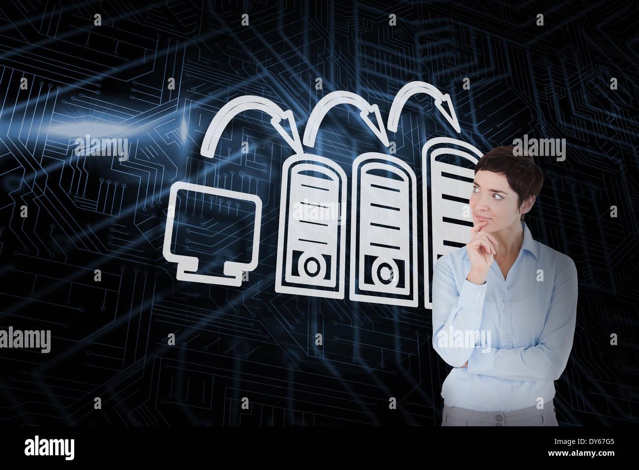 Immagine composita di connessione con il computer e di pensare imprenditrice Immagini Stock