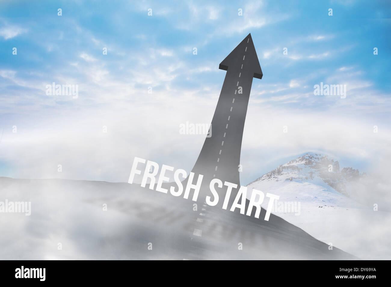 Fresh Start contro la strada si trasforma in freccia Foto Stock