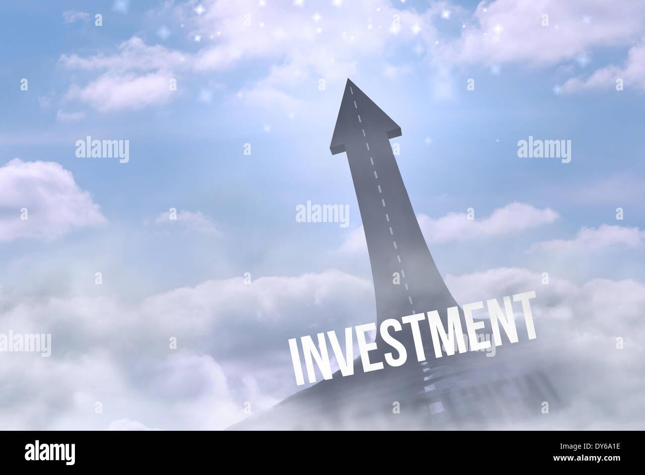 Gli investimenti contro la strada si trasforma in freccia Immagini Stock