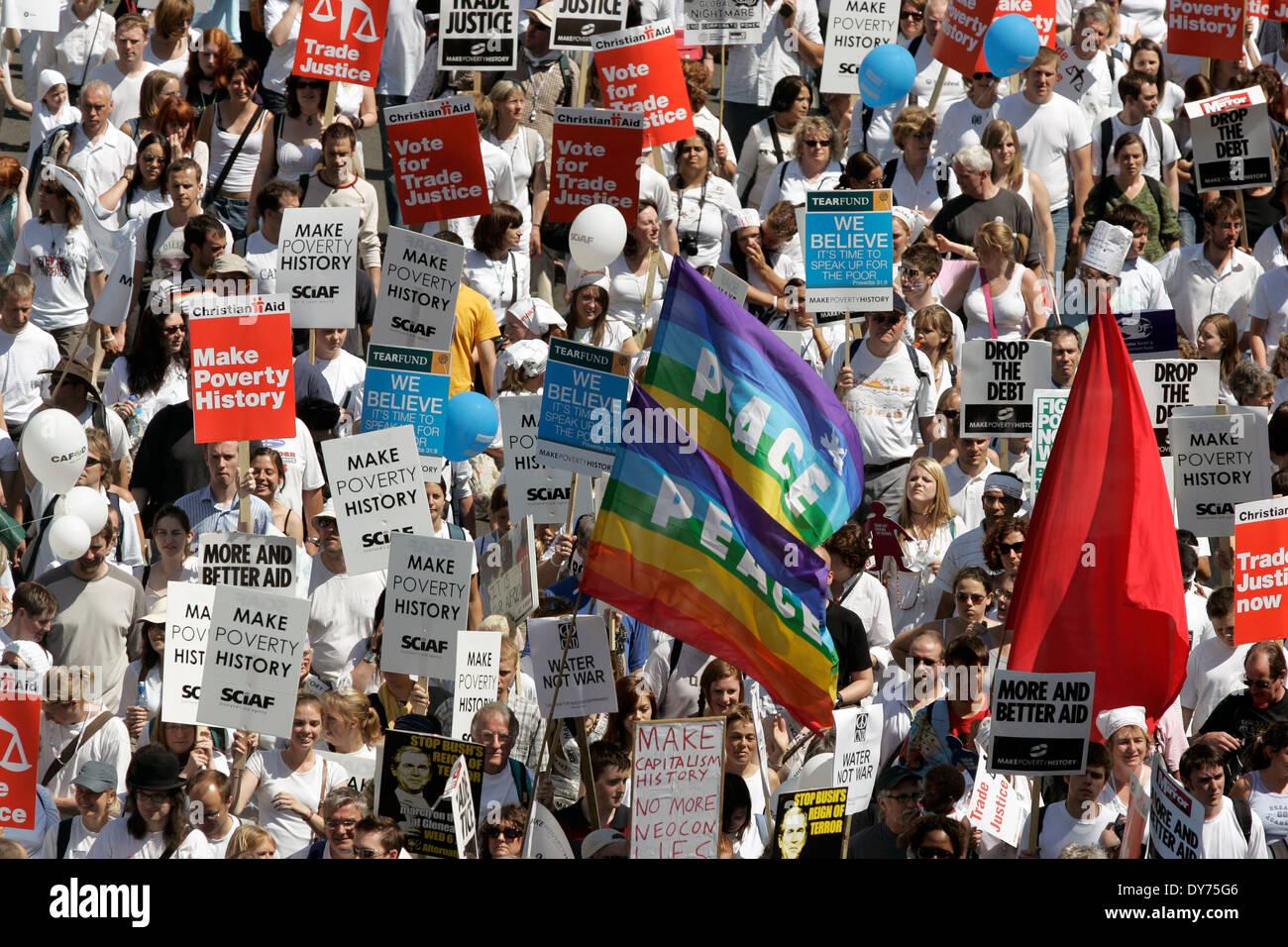 Fare la storia di povertà di protesta contro il vertice del G8 di Edimburgo. Immagini Stock