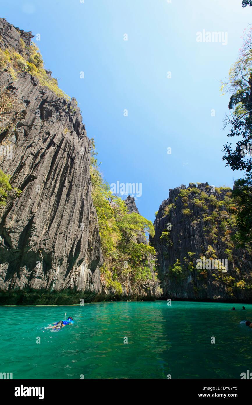 Filippine, Palawan El Nido, Miniloc Island, grande laguna Foto Stock