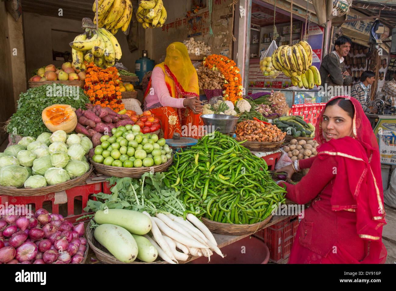 Mercato di verdure, India, Asia, India, mercato, verdure, donna, tradizionale, Indiana, Rajasthan, Immagini Stock