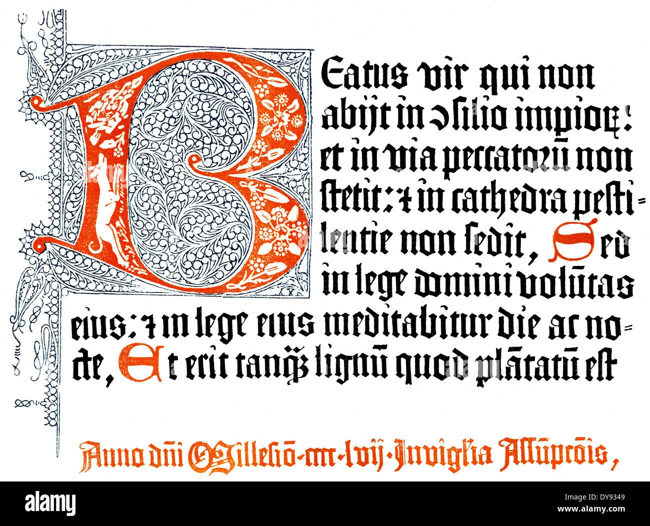 Dettaglio, facsimile della prima pagina e la fine signifaction, il salterio di Magonza, 1457, stampata da Peter Schöffer e Johann Fust Immagini Stock