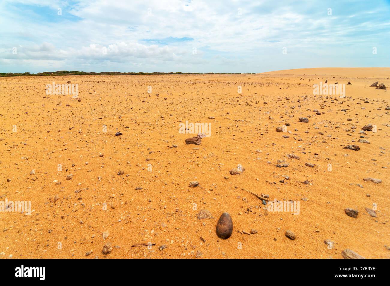 Roccia desolata e coperto di sabbia il paesaggio del deserto Immagini Stock