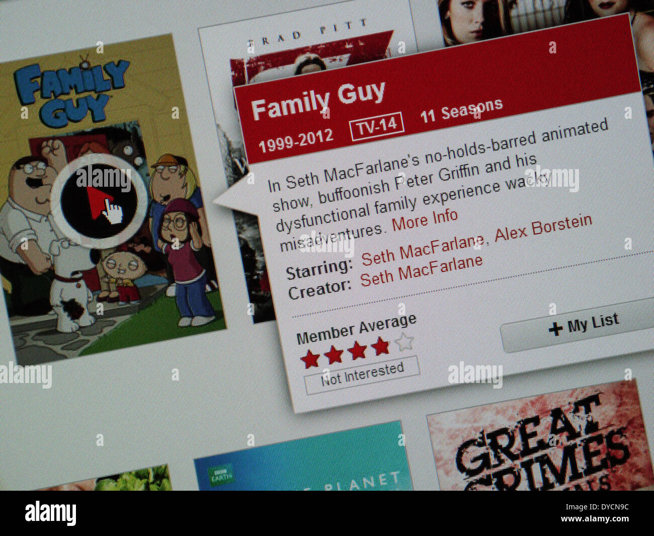 Family Guy spettacolo TV on-line Netflix Immagini Stock