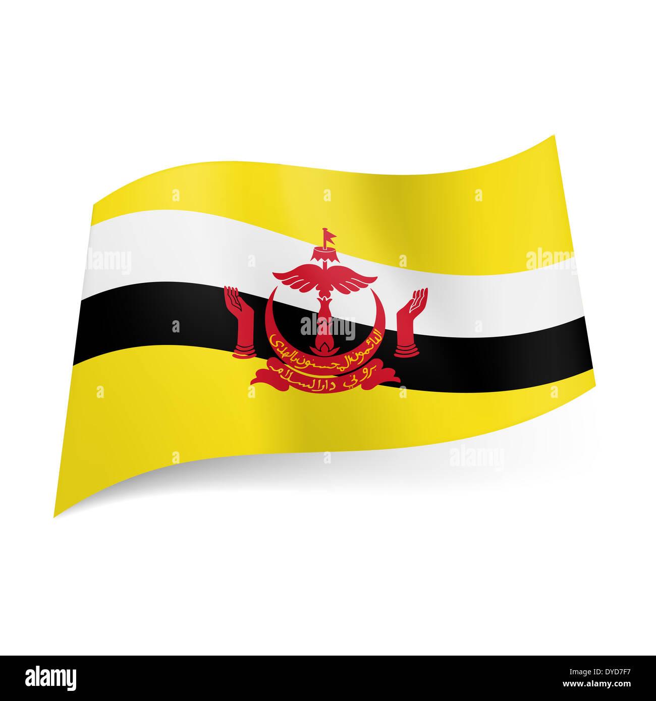 Bandiera nazionale del Brunei: bianco e nero con strisce emblema rosso su sfondo giallo Immagini Stock