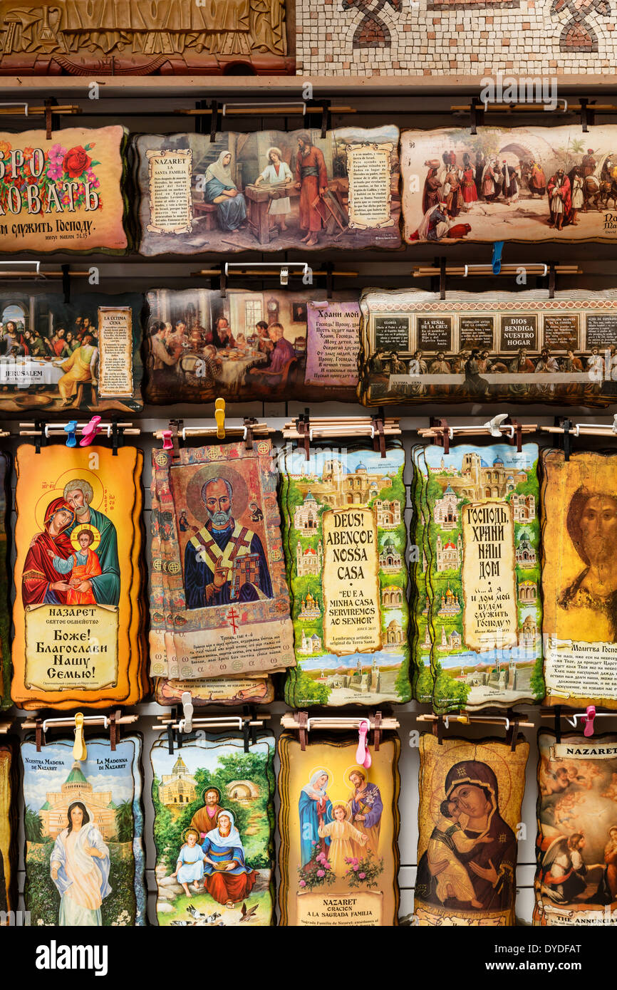 Souvenir religiosi, Nazaret, Bassa Galilea regione, Israele. Immagini Stock