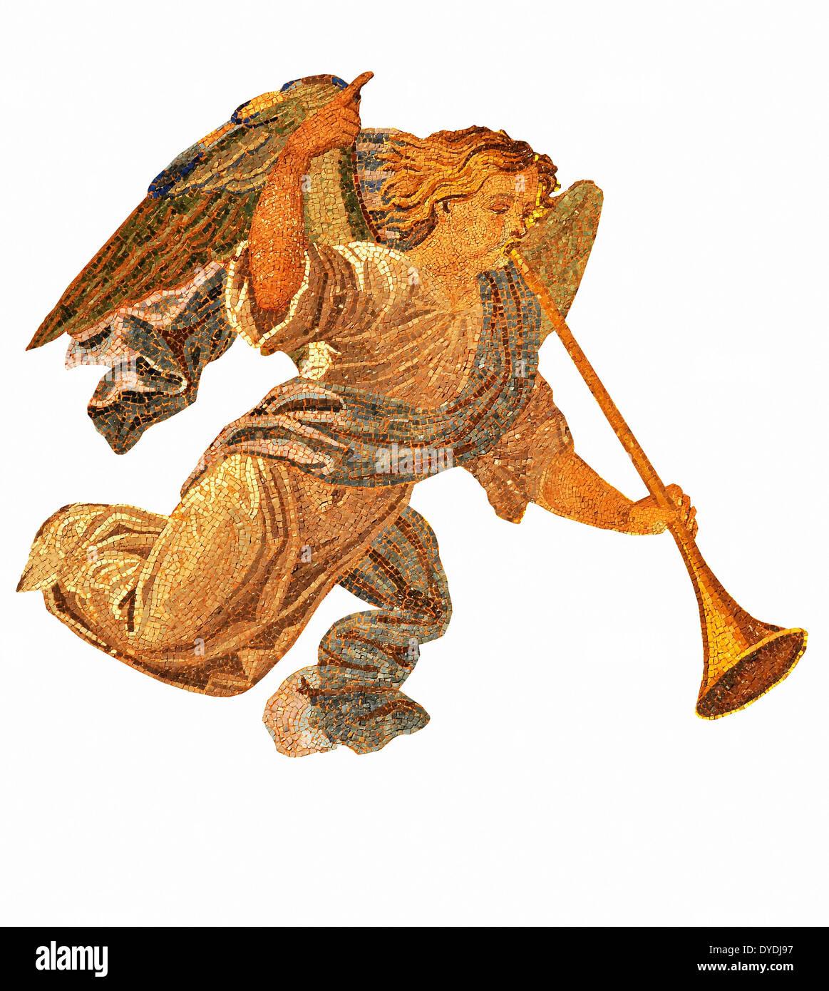 Oro mosaico in oro angelo tromba buona novella annunciare il messaggio messenger Venezia Arte Veneziana la bibbia la religione Il Cristianesimo cath Immagini Stock