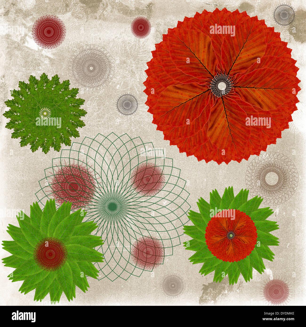 Carta decorativa o astratta sfondo floreale con modelli di foglia Immagini Stock