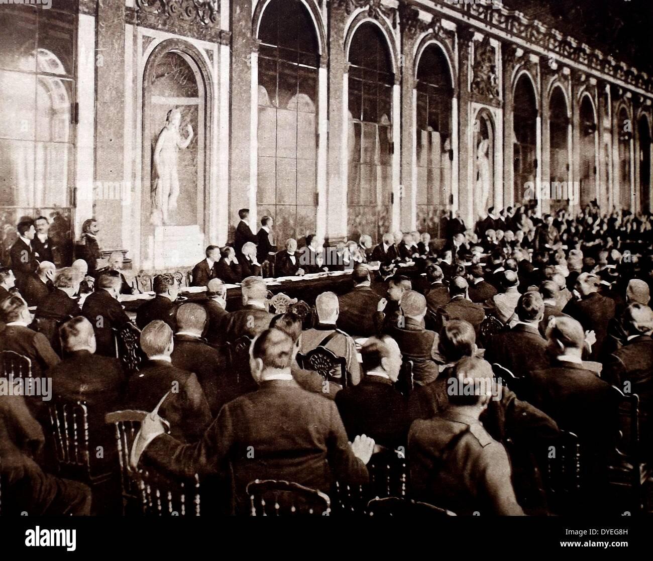 La firma della pace di Versailles trattato Immagini Stock