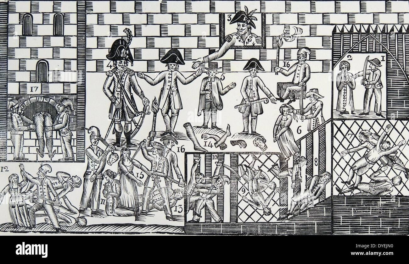I sanguinosi massacri de la Glacière che ha avuto luogo durante la 16-17 ottobre 1791 Immagini Stock