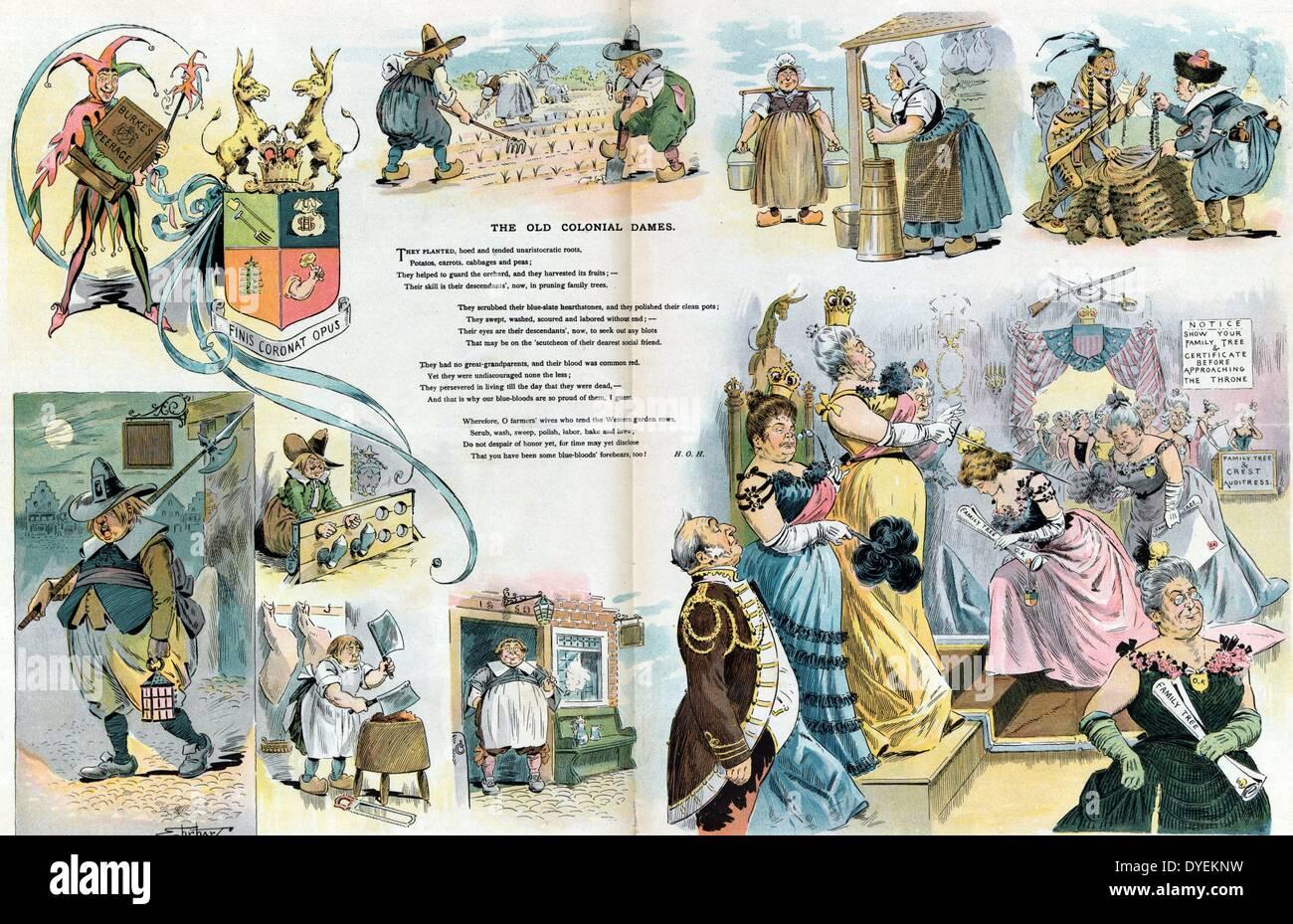 Le scene del periodo coloniale in uomini e donne al lavoro domestico e collare blu faccende Immagini Stock