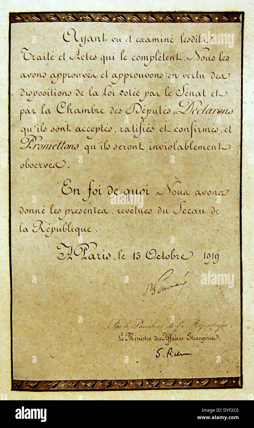 Testo della ratifica da parte del Trattato di Versailles. Immagini Stock