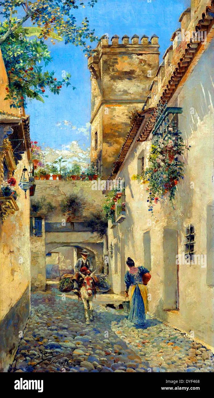 Pescando la pittura ad olio su tela di Manuel Garcia y Rodriguez). Immagini Stock