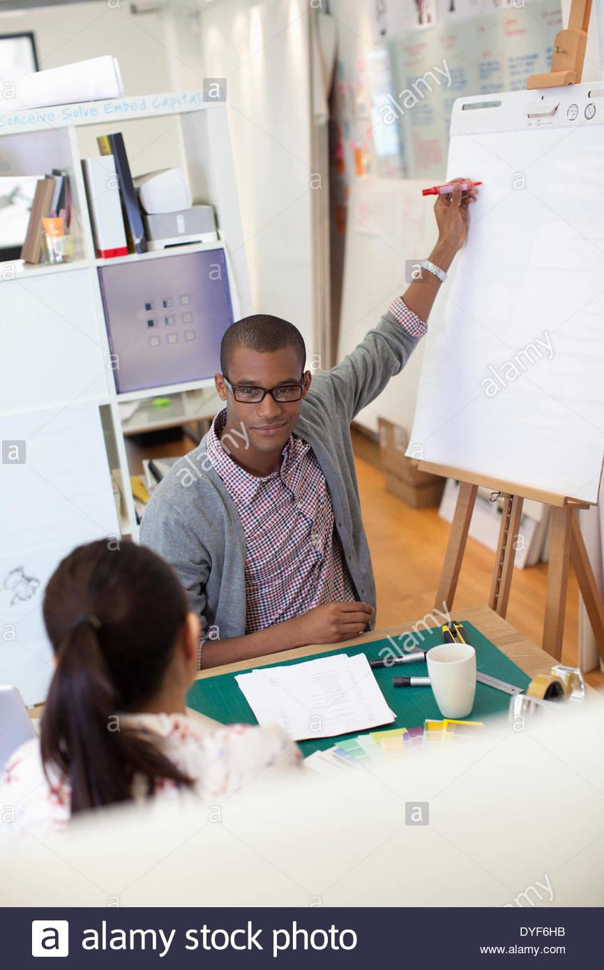 Imprenditore schema di disegno sulla lavagna a fogli mobili in ufficio Immagini Stock